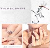 L'anello della mosca del drago dell'argento sterlina 925 ha raffinato la metà coreana dell'anello di barretta aperto di qualità