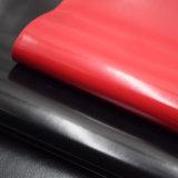 Couro artificial liso lustroso moderado do plutônio para a sapata do saco