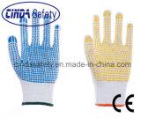 Перчатки хлопка работы техники безопасности на производстве многоточий PVC