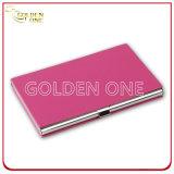 Cassa di scheda di nome di affari del cuoio di colore rosa del coperchio dell'acciaio inossidabile