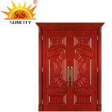 Portelli di legno esterni residenziali commerciali di lusso di disegno semplice doppi
