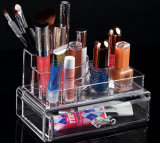 Organizador acrílico desobstruído da composição da beleza com gaveta