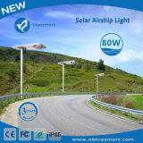 Solar 80W LED integrada en el exterior de la luz de la calle