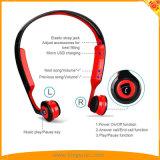 赤の開いた耳の無線骨導のヘッドホーン