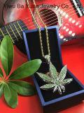 Le Hip Hop Bling Bling bijoux en or jaune CZ Pot Leaf Hip Hop bijouterie collier pendentif
