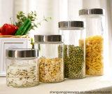 Комплекты свободно образца 4 освобождают опарник стеклянного опарника хранения стеклянный для хранения еды с крышкой металла