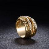 Цинкового сплава мода украшения Rhinestone Золотого Кольца для женщин
