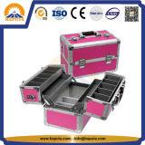 Caixa de cosméticos de beleza de alumínio promocional com 4 bandejas