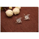 De elegante en Charmante Zwarte Oorringen van de Nagel van de Kristallen van het Bergkristal Vierkante