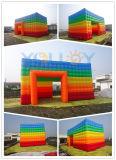 Подгонянный раздувной шатер кубика радуги для сбывания