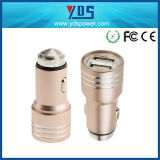 二重USB Metal 5V Two Port USB Car Charger Universal 2.4Aの安全Hammer Stainless Steel