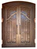 Kundenspezifische Sicherheits-Nizza doppelte vordere bearbeitetes Eisen-Tür mit Glas