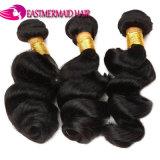 Natualカラーバージンのインドの毛の緩い波の卸売の人間の毛髪の織り方の束