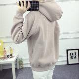Женщин пуловера втулки печатание женщин фуфайки Hoodie зимы слой длинних вскользь толщиной