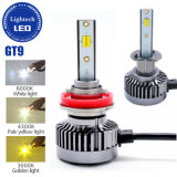 Lightech Gt9 Branco Amarelo em uma lâmpada H11 H8 H9 9005 Hb3 H10 H1 50W 6000lumen 4300K, 3000K, 6000K 3 Cores faróis LED