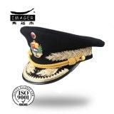 Kundenspezifische militärische private emporgeragte Schutzkappe mit Goldbrücke und -stickerei