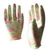 공장 가격 도매를 위한 꽃에 의하여 인쇄되는 PU 입히는 정원 장갑