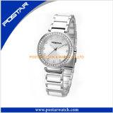 ダイヤモンドのステンレス鋼との男女兼用のための円形のダイヤルのスイス人の腕時計
