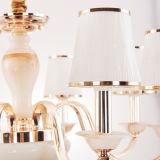 Illuminazione chiara Pendant del lampadario a bracci del ferro con il paralume di vetro (D-6103/8)