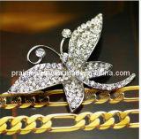 Mariposa de cristal elegante broche Broche Tono Plata de la moda de joyería Bisutería Regalos Broches Adornos Accesorios Dama 925 Broche de plata (PBr-037)