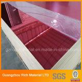 Лист зеркала красного цвета пластичный акриловый