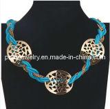 El Verano de la cadena de cuero azul Bisutería, Material de aleación de zinc chapada con collar de oro (PN-077)