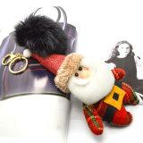 Trousseau de clés de POM Poms avec le bonhomme de neige de Santa de Noël de coton de pp