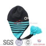 Chapéu de malha com design Earflap e Braid