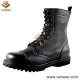 Ботинки ровного кожаный прочного черного боя воинские (WCB042)
