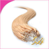 0.8g/Strand Jet BlackインドのRemy Hair Cold Fusion Loop Hair Extensions