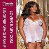 Plus Size Lace Sheer e Net Babydoll Lingerie Grande (P2127-1)
