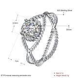 Monili rotondi dell'anello di Zircon della curva della traversa dell'argento sterlina 925