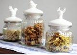 Articolo da cucina di ceramica di vetro della cristalleria del coperchio del vaso 650ml dell'uccello dei cervi di Ribbled