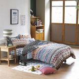 柔らかい薄緑の編まれた寝具はホームのための100%Cottonをセットする