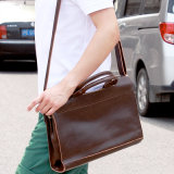 Homens Crazy Horse Leather Shoulder Bag Messenger Bag Malas de couro