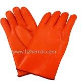 Двойник перчаток PVC Hi-Визави шпицрутена померанцовый окунул перчатку промышленной работы