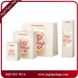 Christmas Kraft Paper Bags Christmas Bags Carrier Bags Promotional Bags with Satin Ribbon and Rose Stamping