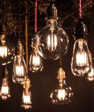 Retro lámpara de vidrio P45 4W E14 LED bombilla de filamento de luz