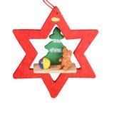 Ornamento de madeira da árvore de Natal com projeto do urso e da Mini-Árvore no estoque