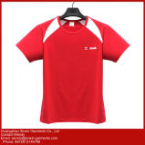 Magliette nere su ordinazione del manicotto di Short del cotone di alta qualità (R193)