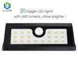 Sensor de movimiento solar resistente al agua de la luz de LED de 20 LED para exteriores