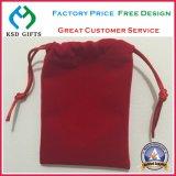Bolsa roja al por mayor del terciopelo de la joyería con insignia de sellado caliente