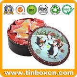 Weihnachtsrundes Metallbiskuit-Plätzchen-Zinn für Geschenk-verpackenkasten