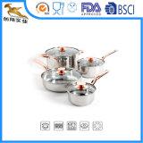 ステンレス鋼の調理器具一定ソース鍋8PCS 3fly