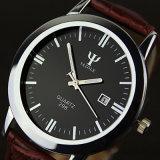 Reloj del cuarzo de la correa de cuero del reloj del asunto del calendario de H298 Yazole para los hombres