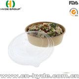 Material desechable Papel Kraft Ensalada recipiente con tapa de plástico