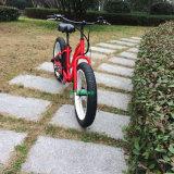 流行のアルミ合金フレームの道の電気バイクを離れた雪山