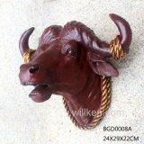 Testa animale fissata al muro realistica di Polyresin, statua della testa del cranio della mucca della resina