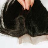 3.5X4 cierres de encaje medio nudo teñido el cabello liso