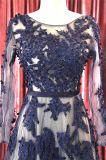 2018 темно-синяя длинными рукавами валика клея-Платье вечернее платье